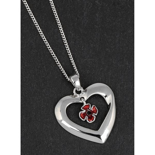 Equilibrium Silver Plated Poppy Heart Necklace