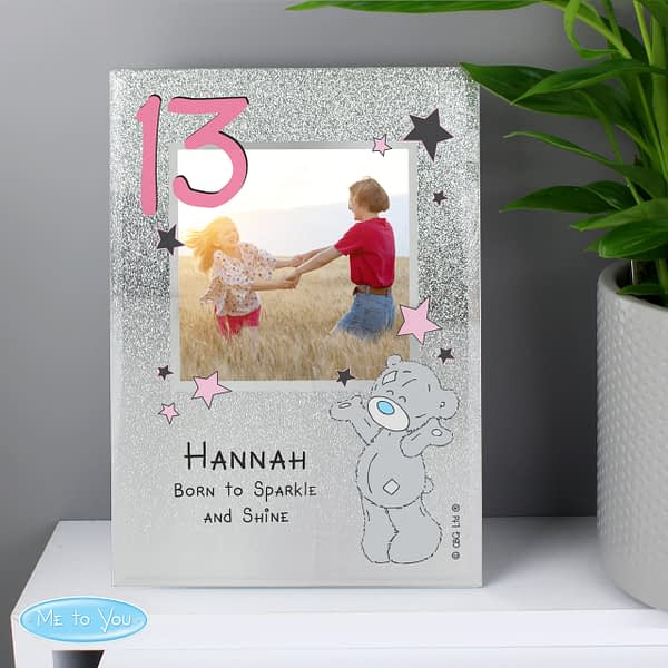 Personalised Me To You Sparkle & Shine 4x4 Glitter Glass Photo Frame