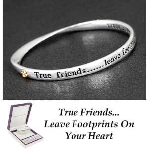Equilibrium Silver Plated 2 Tone Bangle True Friends