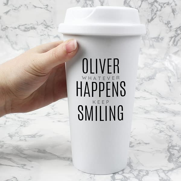 Personalised Black Text Slogan Insulated Eco Travel Cup
