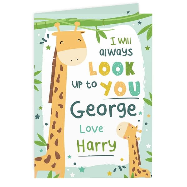 Personalised Look Up To You Giraffe Card