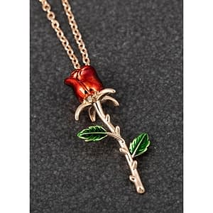 Equilibrium Single Red Rose Rose Gold Plated Necklace