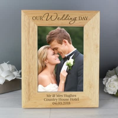 Personalised 'Our Wedding Day' 7x5 Wooden Photo Frame