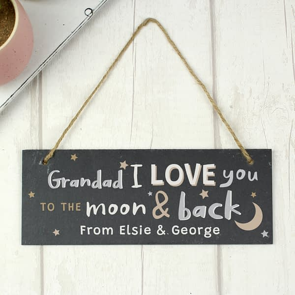 Personalised To the Moon and Back Hanging Slate Plaque