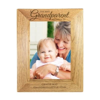 Personalised 'The Best Grandparent' 7x5 Wooden Photo Frame