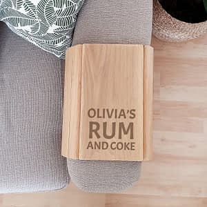 Personalised Large Free Text Wooden Sofa Tray