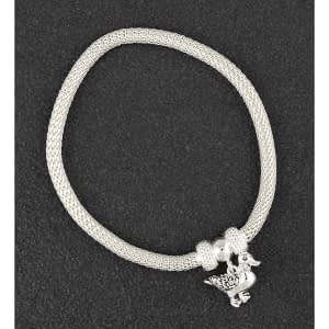 Country Duck Silver Plated Mesh Bracelet