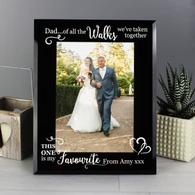 Personalised Of All the Walks... Wedding 7x5 Black Glass Photo Frame
