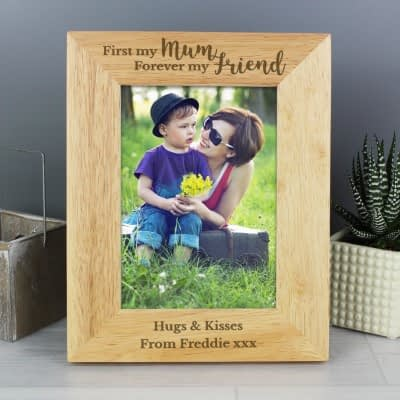 Personalised First My Mum Forever My Friend 7x5 Wooden Photo Frame
