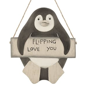 Hanging penguin-Flipping love you