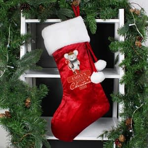 Personalised '1st Christmas' Mouse Red Stocking