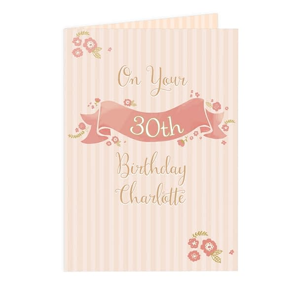 Personalised Floral Scroll Card