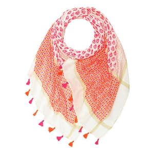 Delhi Print Large Scarf with Tassels Hot Pink