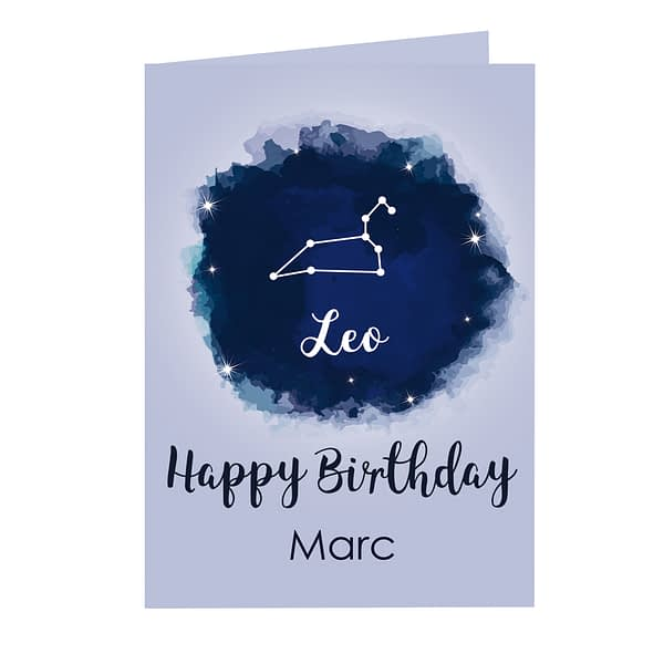 Personalised Leo Zodiac Star Sign Card (July 23rd - August 22nd)