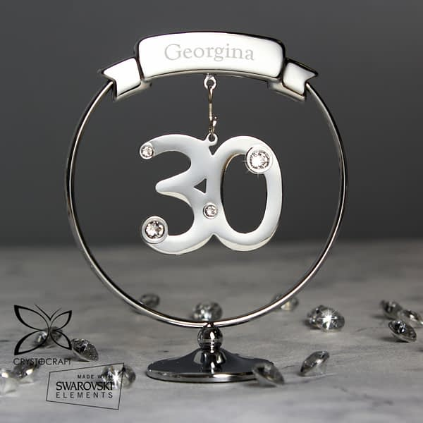 Personalised Name Only Crystocraft 30th Celebration Ornament