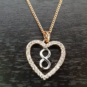 Equilibrium 2 Tone Infinity Heart Necklace Rose Plated