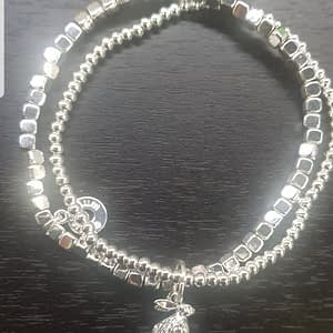 Equilibrium Country Hare Sitting Silver Plated Bead Bracelet