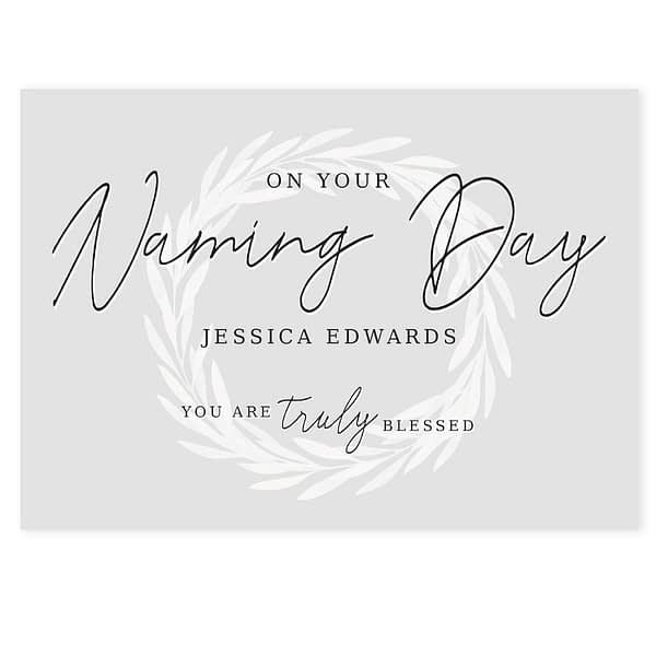 Personalised Truly Blessed Naming Day Card