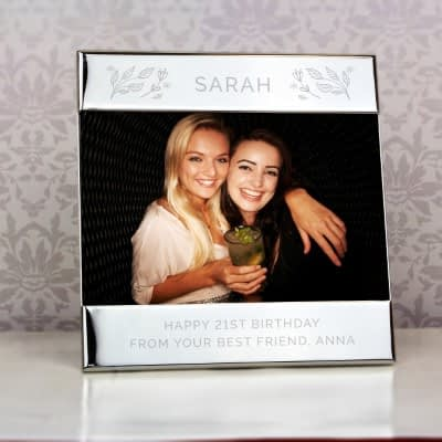 Personalised Silver Floral Square 6x4 Landscape Photo Frame