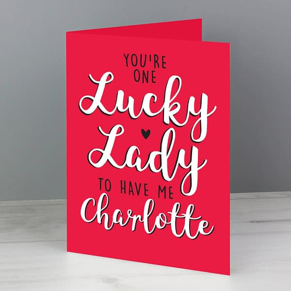 Personalised You're One Lucky Lady Card
