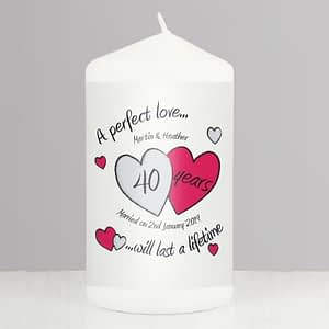 Personalised A Perfect Love Ruby Anniversary Candle