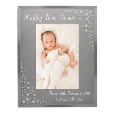 Personalised Any Message 6x4 Diamante Glass Photo Frame