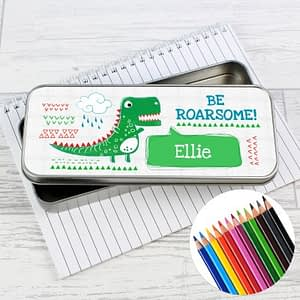Personalised 'Be Roarsome' Dinosaur Pencil Tin with Pencil Crayons