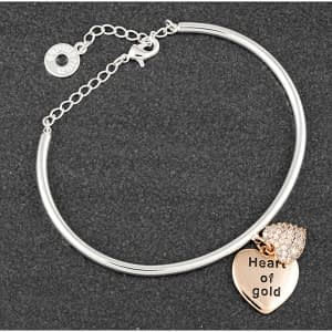 Equilibrium Hanging Heart Two Tone Bangle Heart Gold