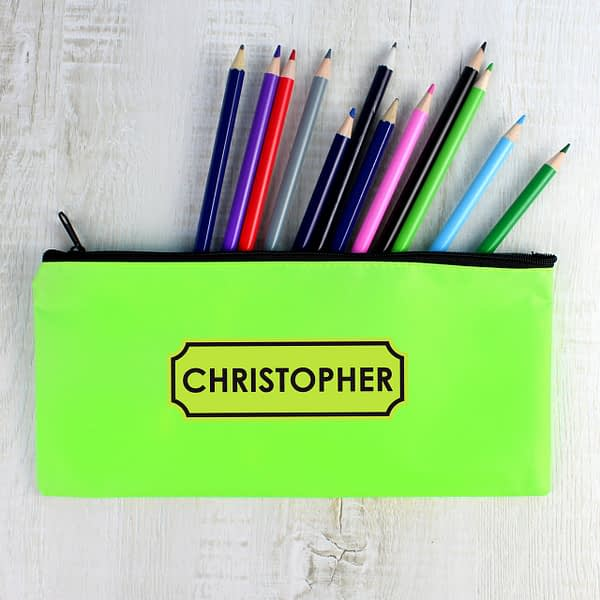 Personalised Green Pencil Case