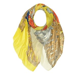 Palm Leaves Print Large Scarf YELLOW