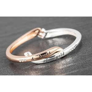 Equilibrium Crossover Silver Plated Rose Gold Plated Heart of Gold Bangle
