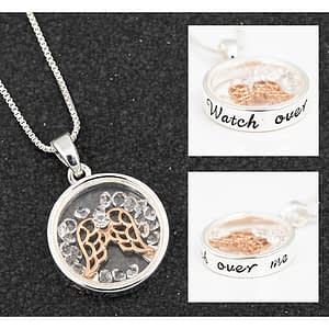 Equilibrium Moving Crystal Angel Necklace Watch Over Me