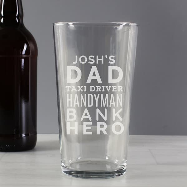 Personalised 'Dad Jobs' Pint Glass