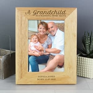Personalised 'A Grandchild is a Blessing' 7x5 Wooden Photo Frame