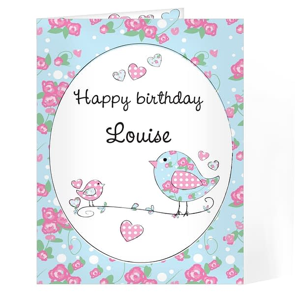 Personalised Floral Bird Card