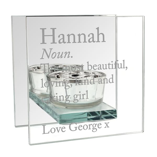 Personalised Definition Mirrored Glass Tea Light Candle Holder