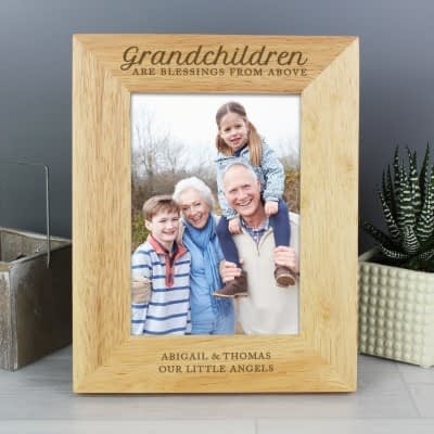 Personalised 'Grandchildren are a Blessing' 7x5 Wooden Photo Frame