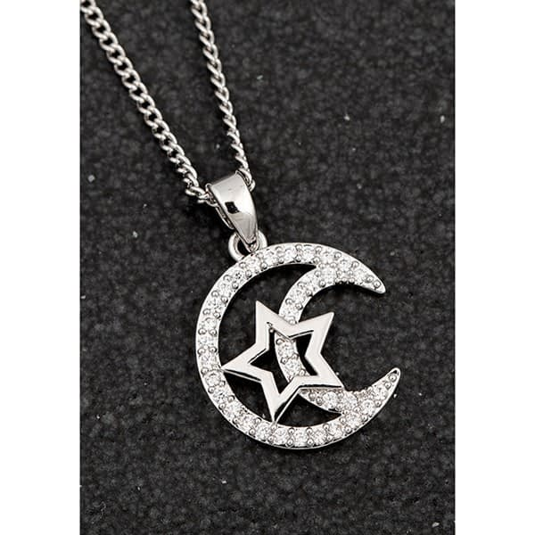 Equilibrium Celestial Star In Moon Platinum Plated Necklace