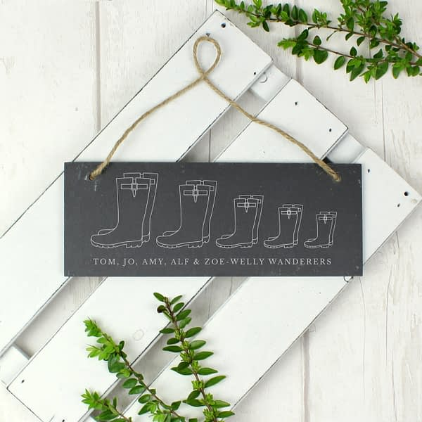 Personalised Welly Boot Family of Five Hanging Slate Plaque
