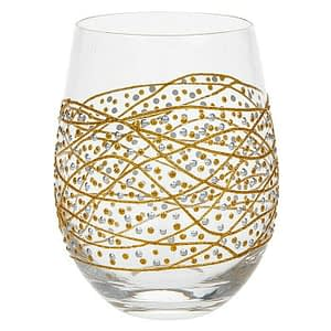 Sunny By Sue Gold Swirl & Dot Hand Decorated Stemless Gin Vodka cocktail glass