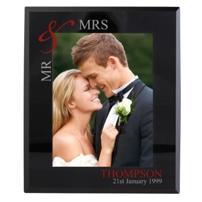 Personalised Ruby Couples 7x5 Black Glass Photo Frame