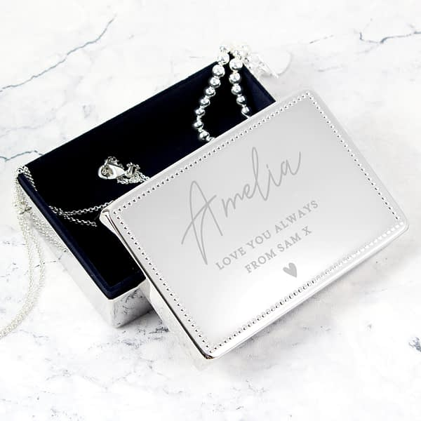 Personalised Name and Message Rectangular Jewellery Box
