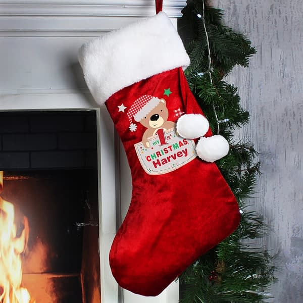 Personalised Pocket Teddy My 1st Christmas Luxury Red Stocking