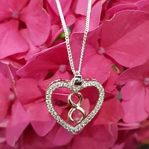 Equilibrium 2 Tone Infinity Heart Necklace Silver Plated
