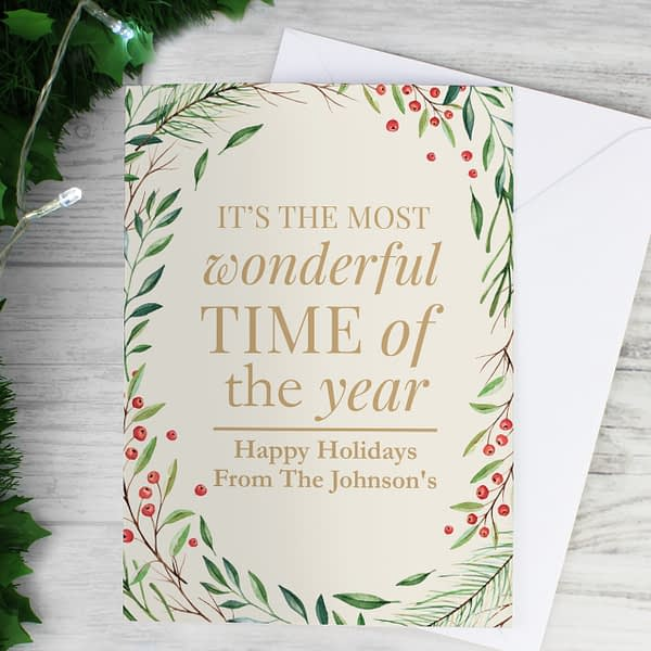 Personalised 'Wonderful Time of The Year' Christmas Card
