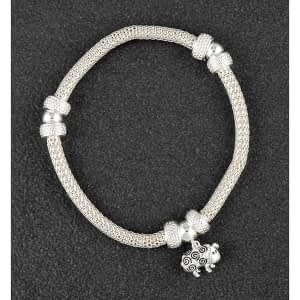 Country Sheep Mesh Silver Plated Bracelet