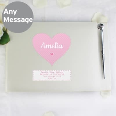 Personalised Stitch & Dot Baby Girl Hardback Guest Book & Pen