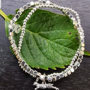 Equilibrium Country Hare Running Silver Plated Bead Bracelet
