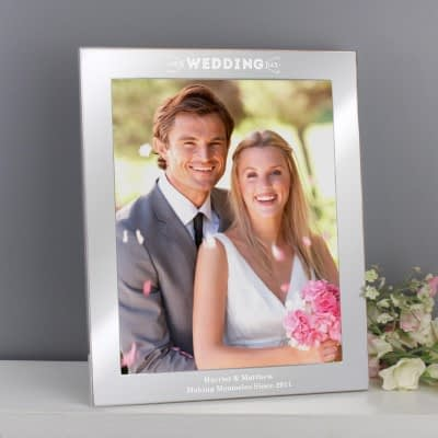 Personalised Our Wedding Day 10x8 Silver Photo Frame