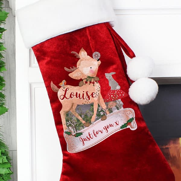 Personalised Festive Fawn Luxury Red Stocking